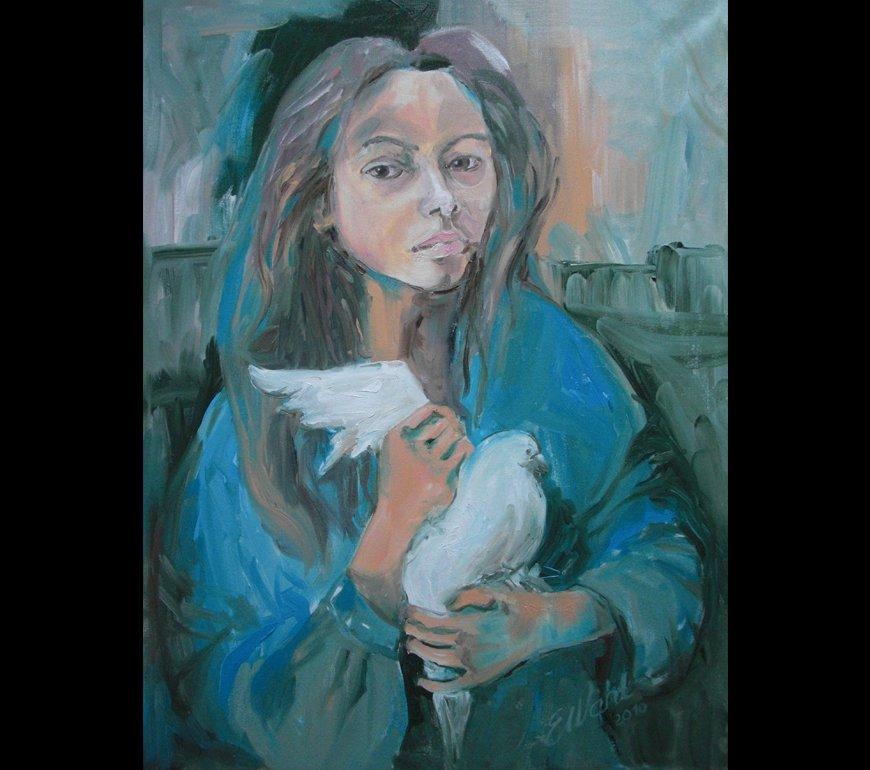 Mädchen mit Taube