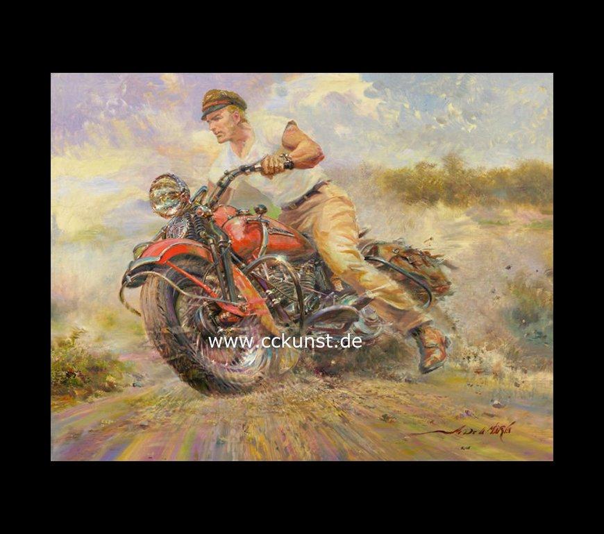 EARLY RIDER - HARLEY DAVIDSON 1947 FL KNUCKLEHEAD Fine Art Print